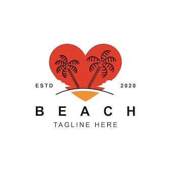 Beach love cuore logo design