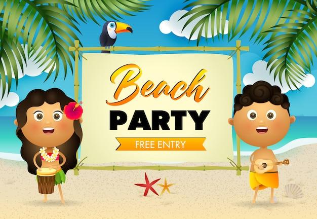 Beach party lettering e aborigeni che suonano strumenti musicali