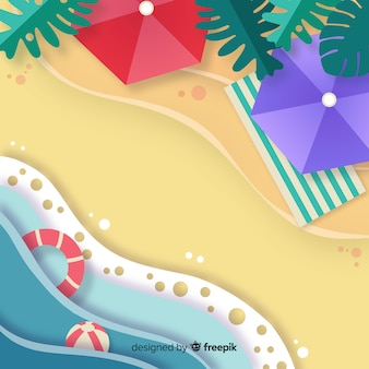 Beach top view paper style