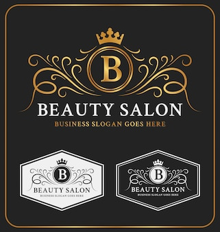 Beauty salon heraldic crest logo template design