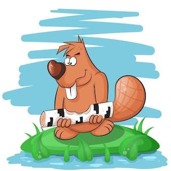 Beaver divertente cartone animato rovinare su un albero.