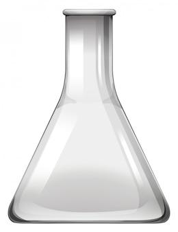 Becher di vetro vuoto su bianco