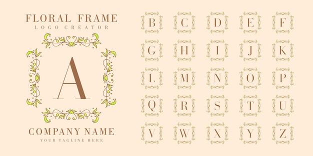Bedge iniziale premium con modello di sfondo cornice floreale