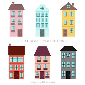 Begli edifici con finestre di design piatto