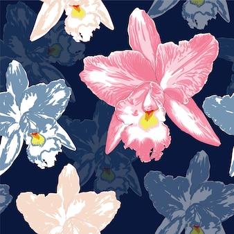 Bei fiori rosa dell'orchidea del modello senza cuciture sul fondo di colore blu scuro