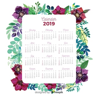 Bel calendario acquerello con stile floreale
