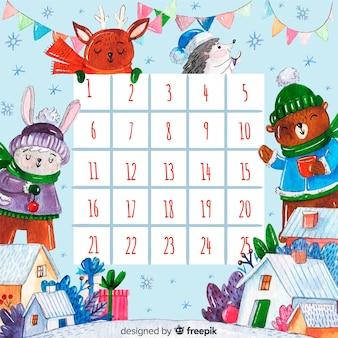 Bel calendario natalizio con uno stile elegante