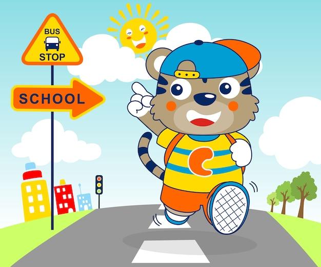 Bel cartone animato animale andare a scuola al mattino