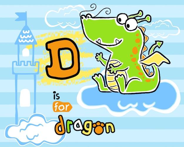 Bel cartone animato di drago bambino