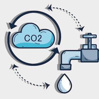 Bel ciclo d'acqua con nuvole e rubinetto