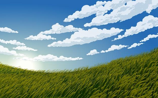 Bel cielo blu nuvoloso in prato