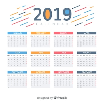 Bel design del calendario 2019