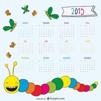 Bel disegno verme e farfalle calendario 2015