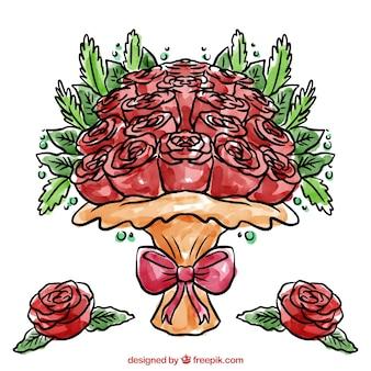 Bel mazzo di rose dipinte con acquerelli