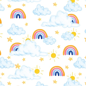 Bel modello acquerello con nuvole, arcobaleno e stelle