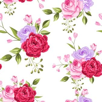 Bel modello senza cuciture fiori e foglie