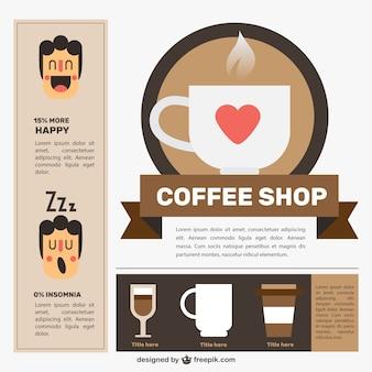 Bel negozio di caffè con elementi infographic