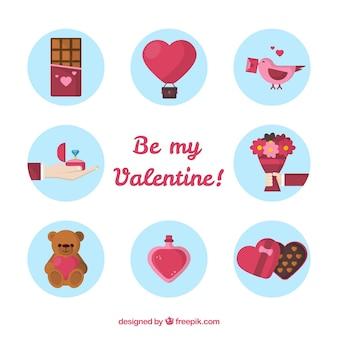 Bel pacchetto di elementi di san valentino con design piatto