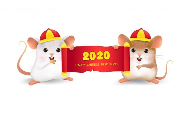 Bel piccolo ratto bianco e marrone