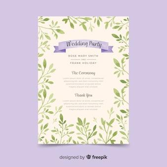 Bel programma di nozze con fiori ad acquerelli
