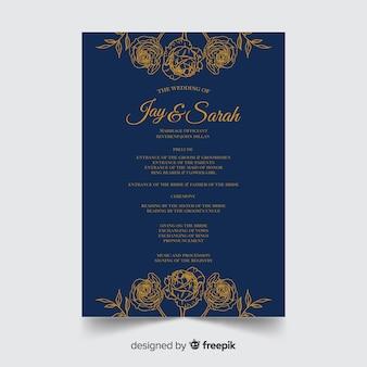 Bel programma di nozze con uno stile elegante