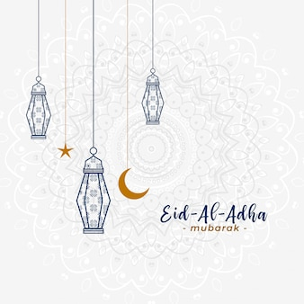 Bel saluto islamico eid al adha con lampade a sospensione