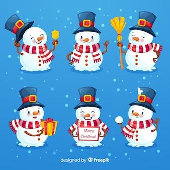 Bel set di caratteri di pupazzo di neve
