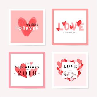 Bel set di carte romantiche