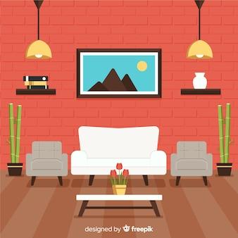 Bel soggiorno con design piatto