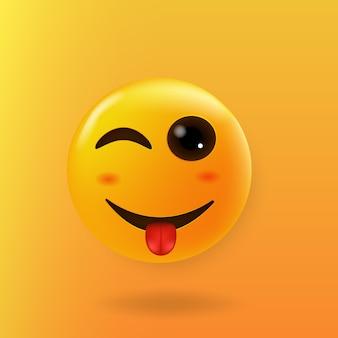Bel viso ammiccante con sciocchi emoji lingua