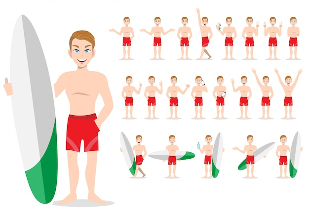 Bell'uomo con nuoto pantalone e attività di design