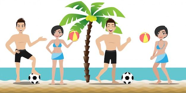 Bell'uomo e bella signora hanno attività in spiaggia