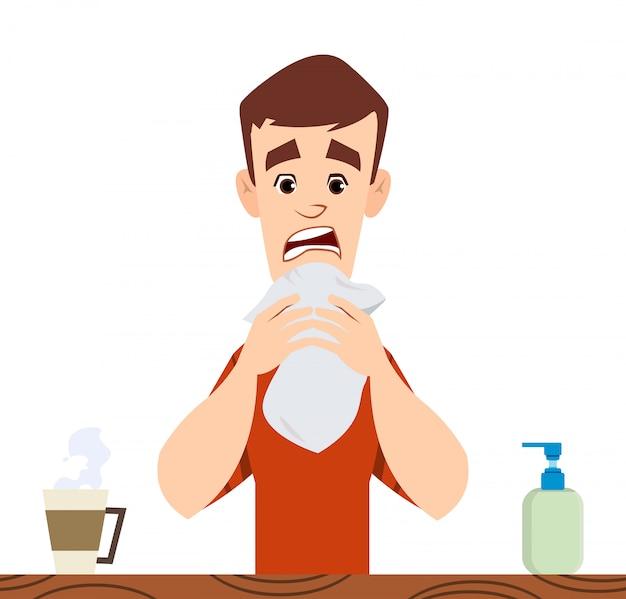 Bell'uomo tosse. concetto di sintomo di coronavirus