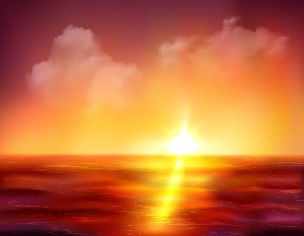 Bella alba oltre oceano con sole dorato e onde rosso scuro