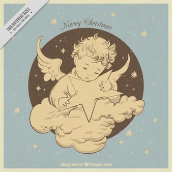 Bella annata angelo disegnata a mano con la stella di fondo