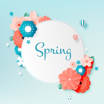 Bella arte di carta floreale con colori pastello