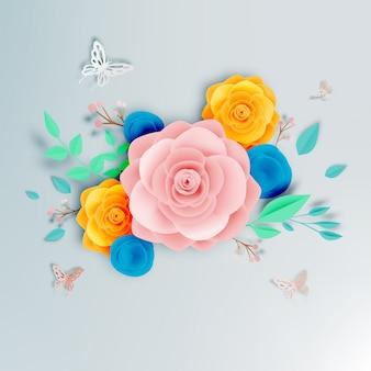 Bella arte di carta floreale con illustrazione vettoriale farfalla