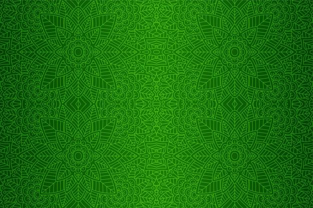 Bella arte verde con motivi floreali lineari