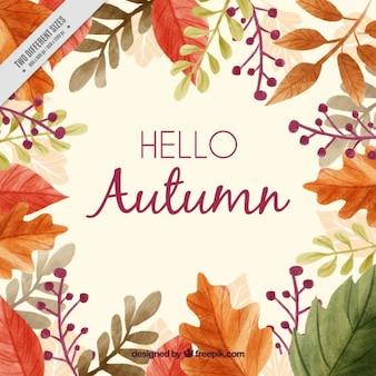 Bella autunno background con una cornice di foglie