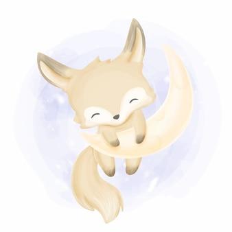 Bella baby fox sulla luna