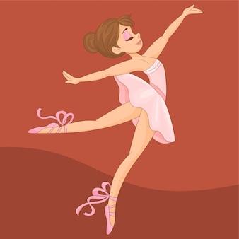Bella ballerina che pratica allo studio di ballo