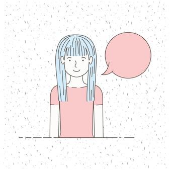 Bella bambina che parla con il fumetto