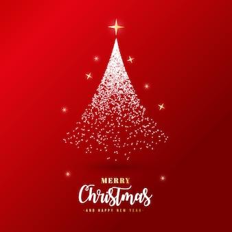 Bella bandiera di Buon Natale con particelle d'argento
