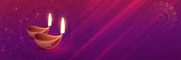 Bella bandiera di festival di diwali con arte diya