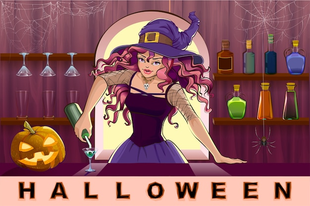 Bella bella strega ragazza versa cocktail festa di halloween. illustrazione del fumetto