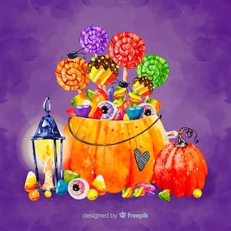 Bella borsa di caramelle di halloween acquerello