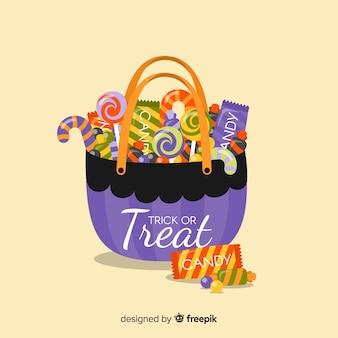 Bella borsa di caramelle di halloween con design piatto