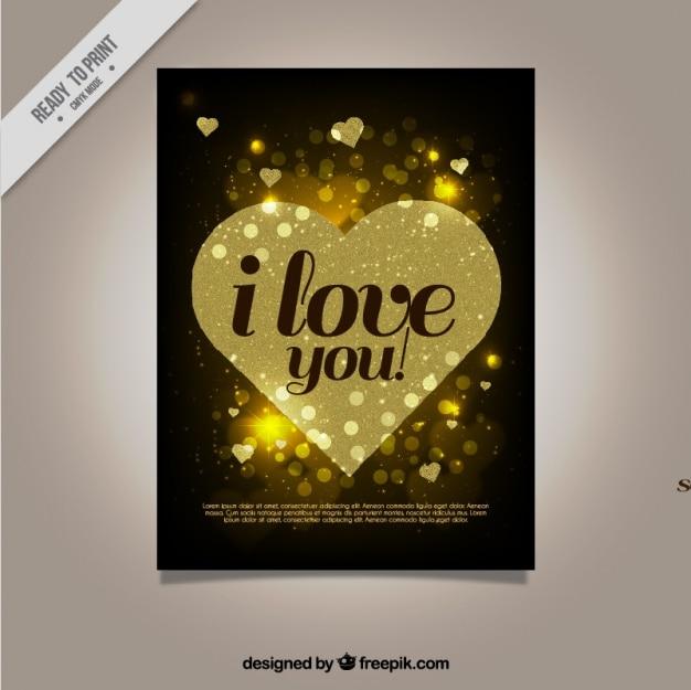 Bella carta d'amore con il cuore d'oro