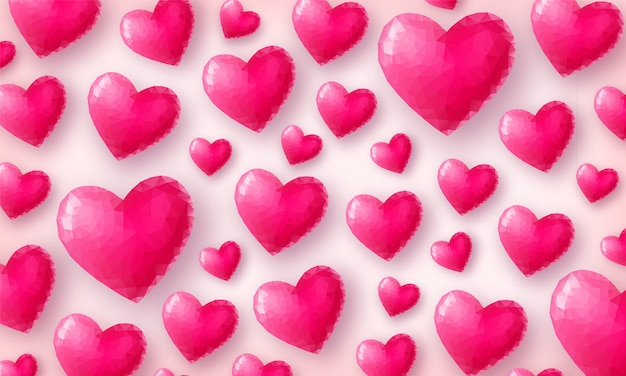 Bella carta da parati d'amore. cuori di cristallo rosa sulla vista dall'alto di sfondo rosa pastello. simbolo di san valentino a basso numero di poligoni. illustrazione