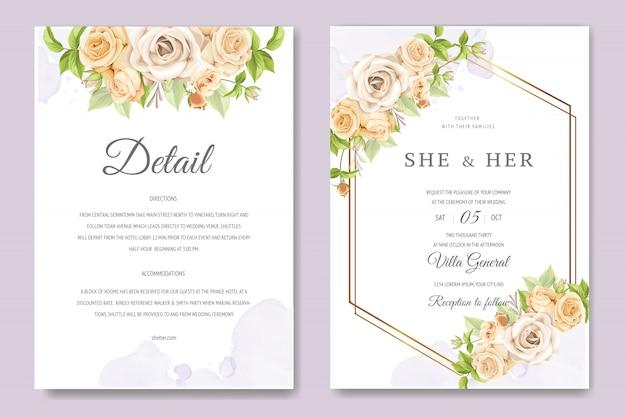 Bella carta di invito con modello colorato floreale e foglie